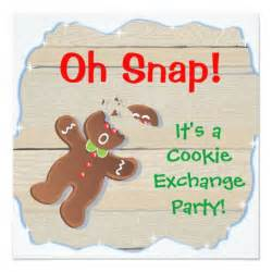 oh snap christmas cookie exchange party invitation zazzle com