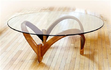 Round Glass Coffee Table Wood Base  Thick Glass Table Top