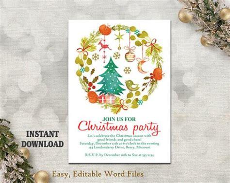 printable christmas party invitation template wreath