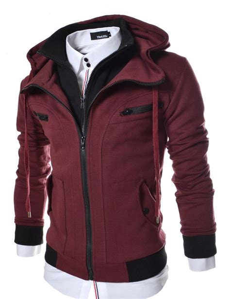 thelees lcj10 slim fit double zipper hood cotton jacket large us large jacket men