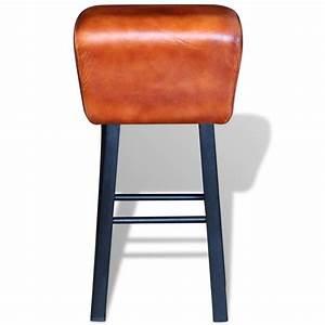 Tabouret De Bar En Cuir : acheter vidaxl tabouret de bar en cuir v ritable marron ~ Dailycaller-alerts.com Idées de Décoration