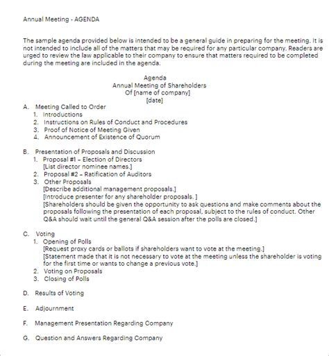 annual meeting agenda templates  word  formats