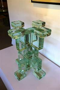 Italian Sculptural Glass Block Table Or Pedestal Base At
