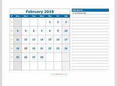 February 2018 Calendar WikiDatesorg