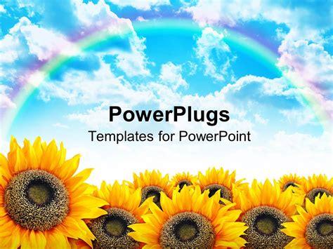 powerpoint template beautiful yellow sunflower field