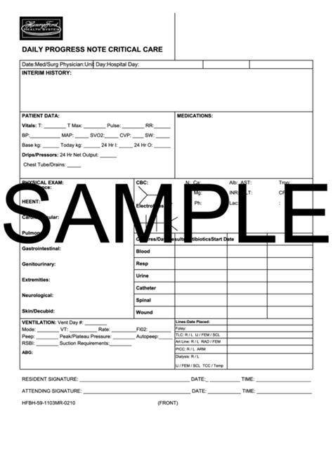 daily progress note critical care printable