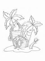 Island Coloring Treasure Pirate Parrot Chest Colorare Pirati Tesoro Palm Pappagallo Palme Borst Dei Deserted Trees Beach Depositphotos Vettoriale Deserta sketch template