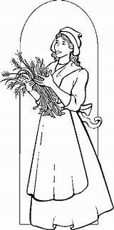 Pilgrim Woman Coloring Pages Thanksgiving Pilgrims Coloringbookfun sketch template