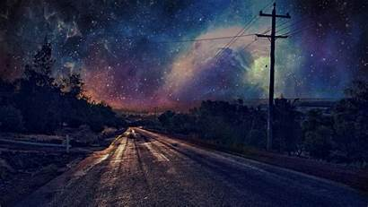 Night Scenery Sky Anime Listrik Road Jalan