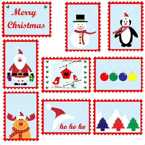 christmas postage stamps template  stock photo