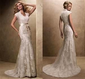 modest wedding dress with sleeves vintage v neck vestidos With vintage wedding dresses with sleeves