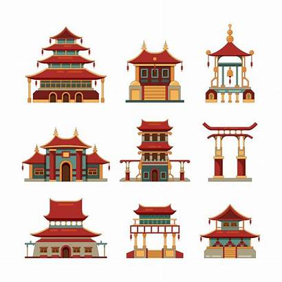 Pagoda China Japan Palace Buildings Traditional Gate