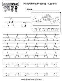 kindergarten letter a writing practice worksheet this series of handwriting alphabet worksheets