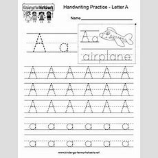 Kindergarten Letter A Writing Practice Worksheet This Series Of Handwriting Alphabet Worksheets