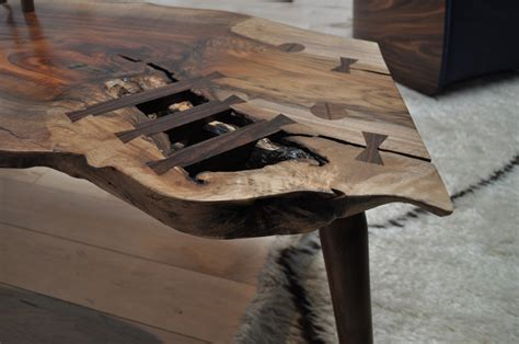 walnut slab bench siglo moderno