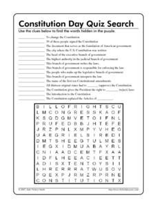 Constitution Day Quiz Search Worksheet For 5th  6th Grade  Lesson Planet
