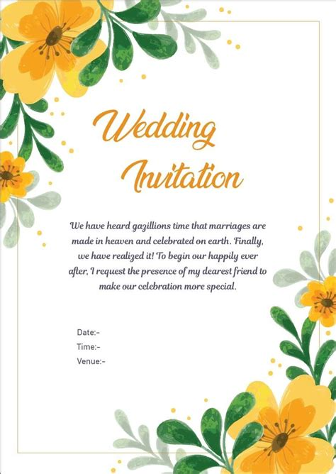 marriage invitation letter  office colleagues
