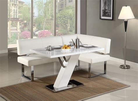 wayfair kitchen table with bench linden dining table nook set in white by chintaly