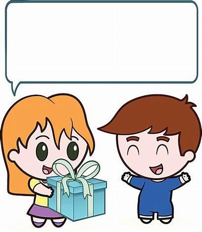 Sister Birthday Brother Happy Cartoon Boy Present