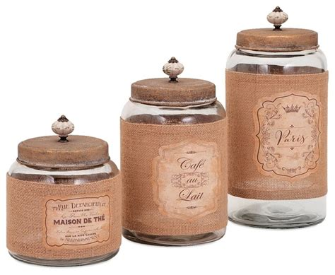 canisters kitchen decor vintage french lidded glass jars set of 3 farmhouse kitchen canisters and jars by pizzazz
