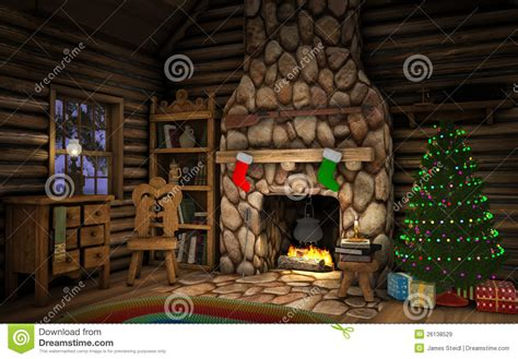 christmas cabin interior royalty  stock images image