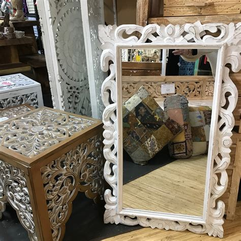 carved white timber mirror cm  bali shop