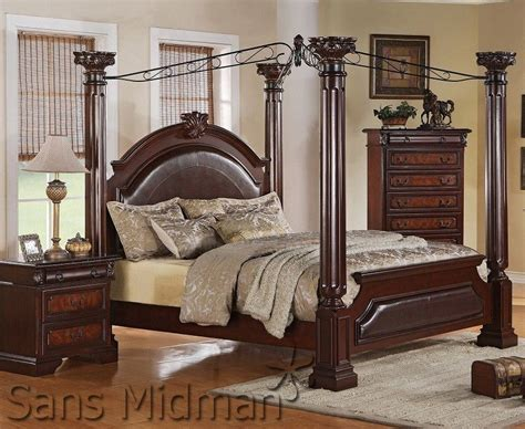 Empire 3 Piece Bedroom Set King Size Canopy Poster Bed 1