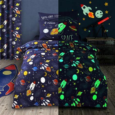 kids glow  dark space rocket stars bedding duvet quilt