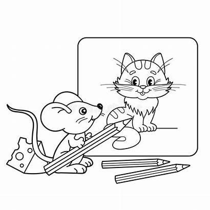 Mouse Cartoon Outline Coloring Cat Pages Pencils