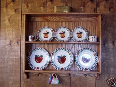 plate display rack oak wall shelf  mug holder