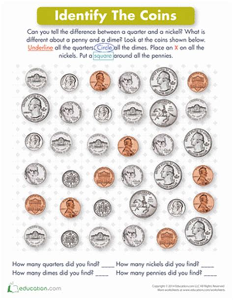 identifying coins worksheet education
