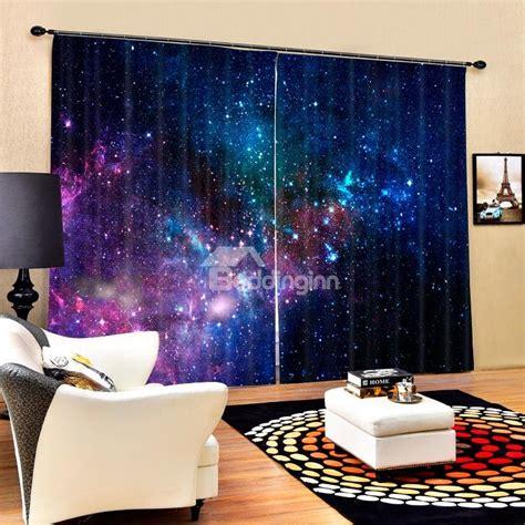 gorgeous dark blue galaxy printed polyester blackout