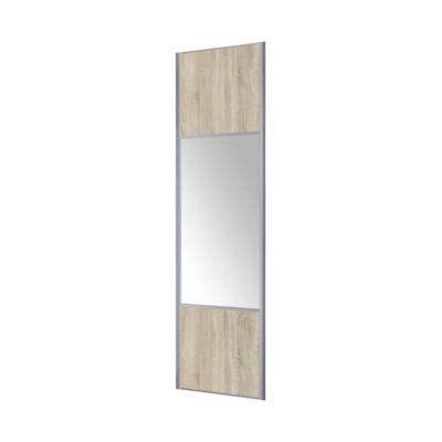 porte placard coulissante miroir chene clair