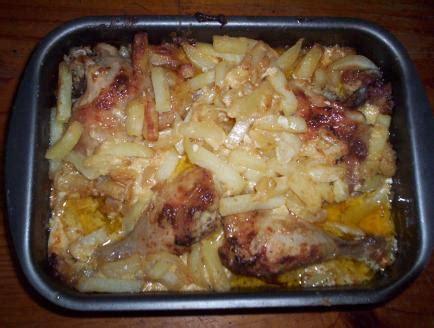 poulet 224 la cr 232 me fraiche et pommes de terre au four