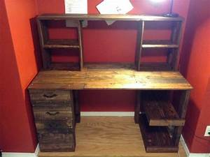 DIY Cheap Pallet Wood Computer Desk With Drawers 30 Was