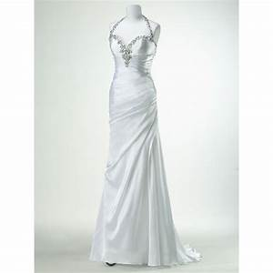 mermaid halter top silk like satin crystal zipper back With wedding dress mannequin