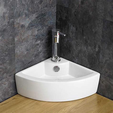 Ohio En Suite Corner Bathroom Cabinet Oak Vanity Unit