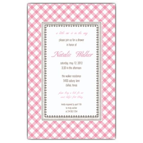 gingham pink baby shower invitations paperstyle