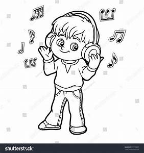 Girl Listening To Music Clipart Black And White - ClipartXtras