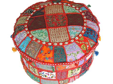 Hassock Ottoman by Indian Pouf Ottoman Multicolor Patchwork Big