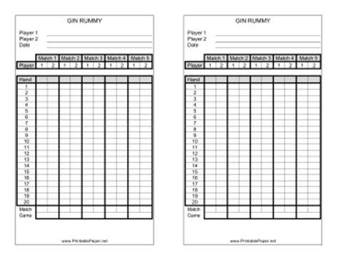 printable gin rummy score sheet