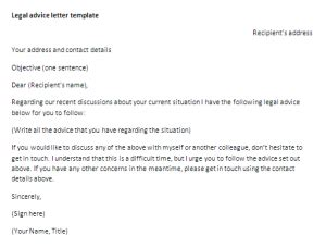 legal advice letter template letter  advice sample