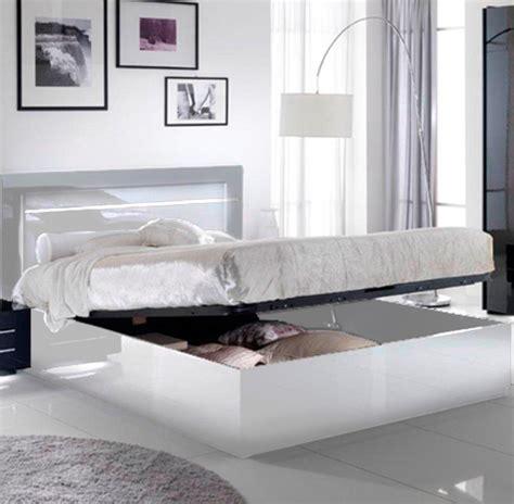 rangement de chambre a coucher lit avec coffre de rangement city laque blanc chambre à