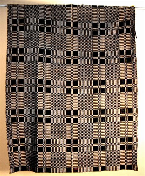 Antique Black Jacquard Loom Woven Coverlet  Item # 2140