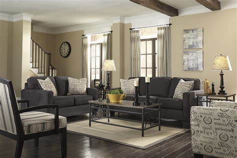 Cosy Cherry Wood Living Room In Dark Gray Couch Ideas