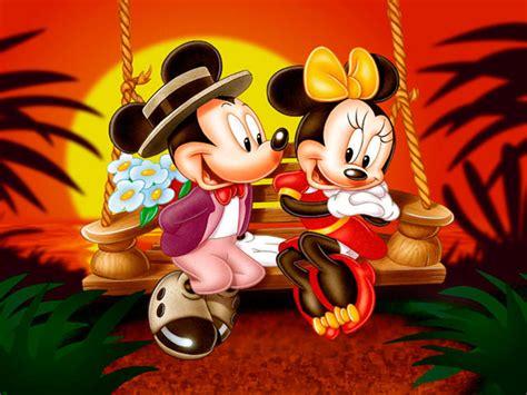 cartoon mickey  minnie mouse sunset romantic couple hd