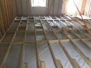 How to get shed wood floor joists over concrete slab for How to build a floor over concrete