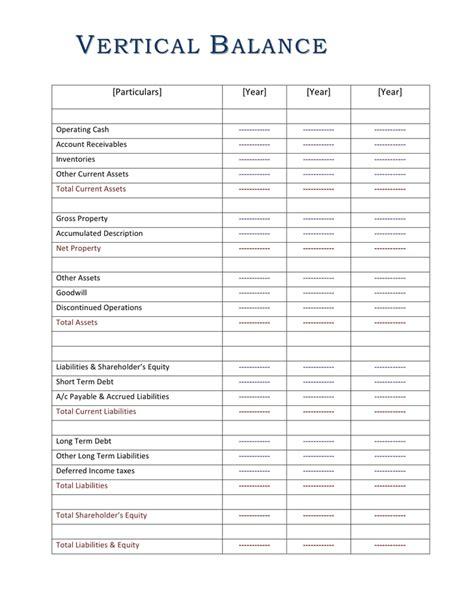 vertical balance sheet template  word   formats