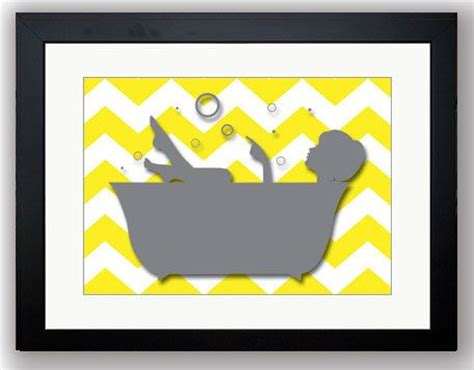 bathroom decor bathroom print grey girl yellow in a