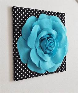 Flower wall decor light turquoise rose on black and white for Kitchen colors with white cabinets with polka dot wall art